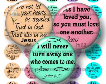 Christian, Bible Verse, 16mm Circles, Digital Collage Sheet, Instant Download, Printable, Digital Download, 16mm Round Images (No.2)