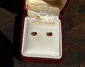 Vintage 14K Yellow Gold Ruby Stud Earrings