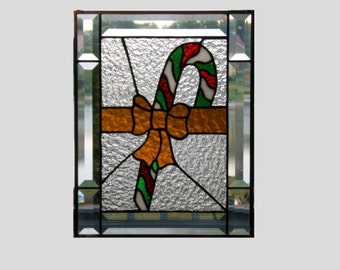 Stained glass panel window candy cane stained glass window panel window hanging Christmas decor holiday beveled border