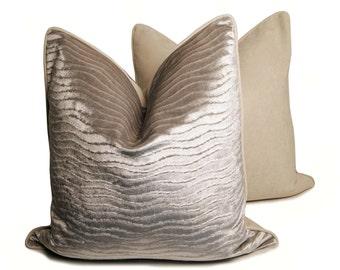 """20"""" Metallic Textured Velour Pillow"""