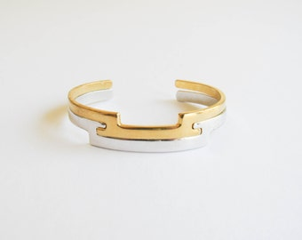 Vintage Interlocking Bracelet Set By Avon With His And Hers Gold And Silver Cuff Bracelets