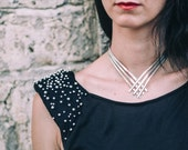 Silver Choker Necklace-Chevron Choker Necklace-Edgy Chic Choker Necklace-Ancient Greek Inspired Jewellery