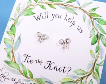 Bow post earrings, Bridesmaid gifts, Be my bridesmaid, Bridesmaid asking gift, bridal jewelry, bow jewelry, tying the knot, Otis B
