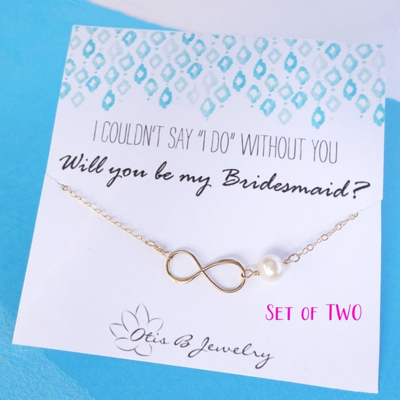 Bridesmaid gifts, set of 2: TWO Bridesmaid cards & Infinity bracelets, silver pearl bracelets, figure eight jewelry, FRIENDSHIP BRACELETS