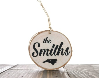 Custom Family Ornament with state — birch wood slice