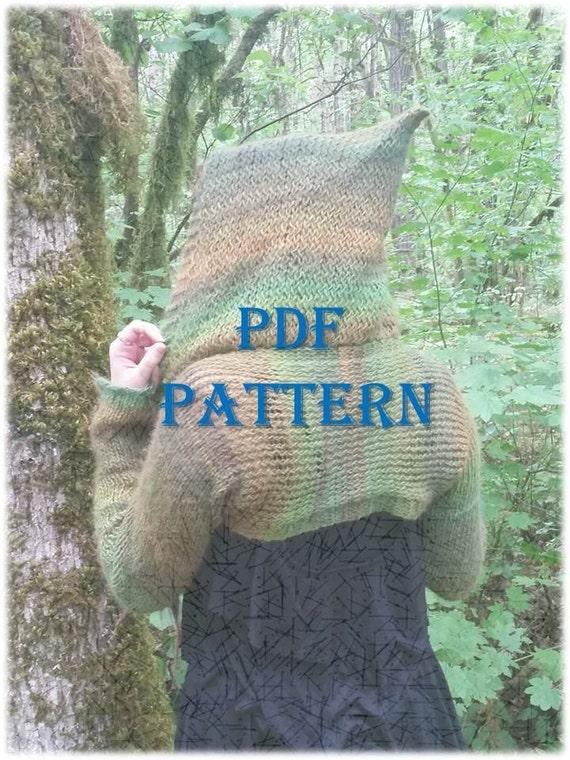 Knitting Pattern For Shrug With Hood : PDF Knitting Pattern Hooded Shrug by BatsWoodlandWares on Etsy