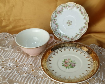 Mismatched Footed Teacup, Saucer, bread and butter / dessert plate trio, Haviland Limoges, La Petite 22k, Shabby Chic Rustic Retro *eb