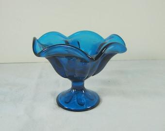 Vintage PETAL CANDLEHOLDER Cobalt Taper MCM Viking Crystal Glass