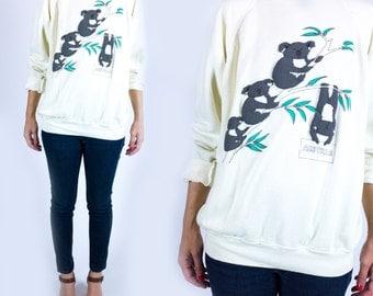 Vintage 1980s Novelty Koala Print Australia Tourism Super Soft Bright White Sweatshirt Any Size