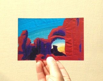 """Postcard """"Turret Arch with Turquoise Sky"""", fabric art postcard print, 4x6 inch postcard print, high gloss, UV protection"""