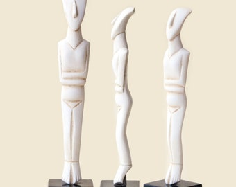 Greek Cycladic Figurine, Abstract Art Sculpture, Resin Casting Greek Statue, Geometric Cycladic Art Ancient Greece Museum Replica, Art Decor