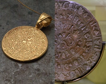 Greek Phaistos Disc Gold Necklace,Crete Unisex Necklace, Sterling 24k Gold Plated, Ancient Minoan Greek Mystery,Wearable Art,Greek Jewellery