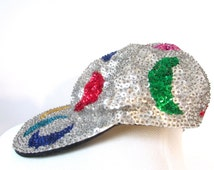 Vintage 1980's Sequin Crescent Moon Baseball Hat