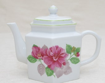 Beautiful Teapot: White Teapot with Red/Pink Floral, Honeycomb Shaped Pot, Elegant Gift, Gift for Her, Tea Party, High Tea