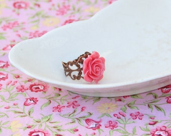 Flower Ring, Copper Ring, Rose Ring, Pink Jewelry, Filigree Ring, Vintage Style, Romantic Jewelry, Ornate Jewelry, Gifts Under 10, For Her