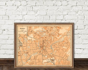 Kharkov map - Kharkiv old map print - Map of Kharkov (Ukraine) - archival reproduction