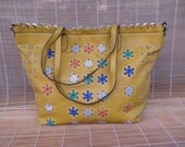 Vintage Yellow Faux Leather Tote Zip Up Top Large Size Hobo Purse Floral Pattern