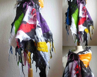 felted scarf , wrap, shawl, art to wear, handmade, wool, felt, black, white, yellow, red, green, blue, made to order