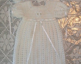 Crochet Christening Babtism Gown, Bonnet, Headband and Booties Set Outfit in Pure White
