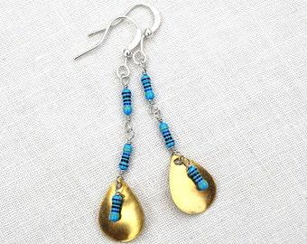 Techie Jewelry, Geometric Drop Earrings, Wearable Tech, Computer Earrings. Petite Resistors, Electronics Eco Friendly Earrings