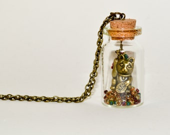 Lucky Cat Necklace, Maneki-neko, Bottle Necklace, Lucky Charm Necklace, Bottle Jewelry, Cat Jewelry, Bottle Pendant, Japanese Cat Necklace