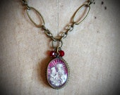 BLESSINGS of ST ANNE-   Vintage Religious Medal adorning Antiqued Brass Necklace-   Breathtakingly handcrafted