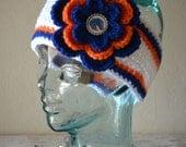 READY TO SHIP - Teen/Adult Boise State Broncos Inspired Flower Earwarmer Headband with Logo Center - College Baseball, Basketball, Football
