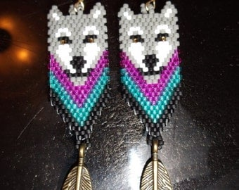 Native American Style Grey Wolf Beaded  Earring Turquoise, Hot Pink and Black Boho, Southwestern, Hippie, Brick Stitch, Peyote, Great Gift