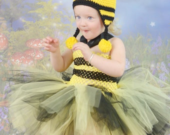 WHOLE OUTFIT 4pcs Bumble Bee Halloween Costume Handmade Crochet Hat Tutu Dress Set First 1st Birthday Outfit  Bumblebee Queen Bee Worker Bee