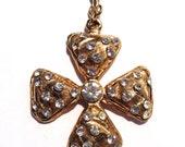 Rhinestone Maltese Cross Brooch Pendant Fob Retro Fashion Mad Men Jewelry