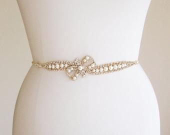 Skinny bridal belt sash, Crystal wedding belt, Pearl and crystal bridal belt, Rhinestone and pearl belt, Bridal belt in gold or silver