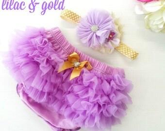Lilac Chiffon Ruffle Bloomers and Matching Headband Baby gift 1st birthday