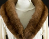 Vintage Caramel Brown Mink Fur Collar or Stole with Covered Clips *Reserved for PoshCollections*
