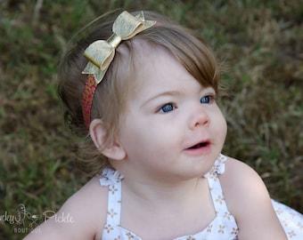 Gold Bow Headband - Hot Pink Gold Leopard Headband - Metallic Gold - Newborn Toddler Baby Girls - Pink Gold Hair Bow - Animal Print