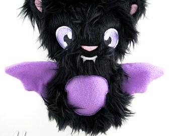 Bat Stuffie Embroidery Design, bat, halloween, bat machine embroidery, ITH plushie, in the hoop, ith, stuffed, bat softie, animal, bat plush