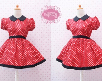 Minnie Mouse Dress - Minnie Mouse Birthday Outfit - Red Polka Dot Dress - Peterpan Collar - Rockabilly Vintage Dress ( Custom Dress)