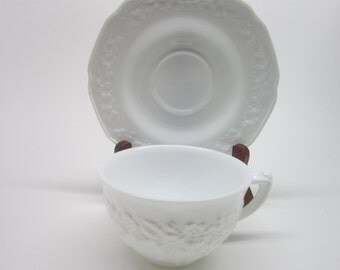Vintage White Milk Glass Cup and Saucer Indiana Opaque ORANGE BLOSSOM Flower