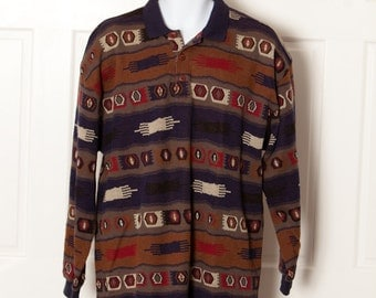 Long Sleeve Men's Polo Shirt - COTTON MILL - chill brown tribal - M