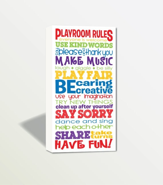 Playroom Rules Canvas Wrap | Children's Room | Nursery Art | Primary Colors | Fun Wall Art