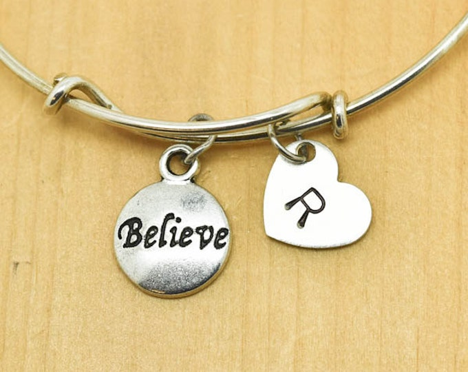 Believe Bangle, Sterling Silver Bangle, Believe Bracelet, Bridesmaid Gift, Personalized Bracelet, Charm Bangle, Monogram, Initial Bracelet