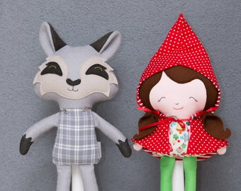 Little Red Riding Hood and Mister Wolf (doll, stuffed animal, softie, decoration)