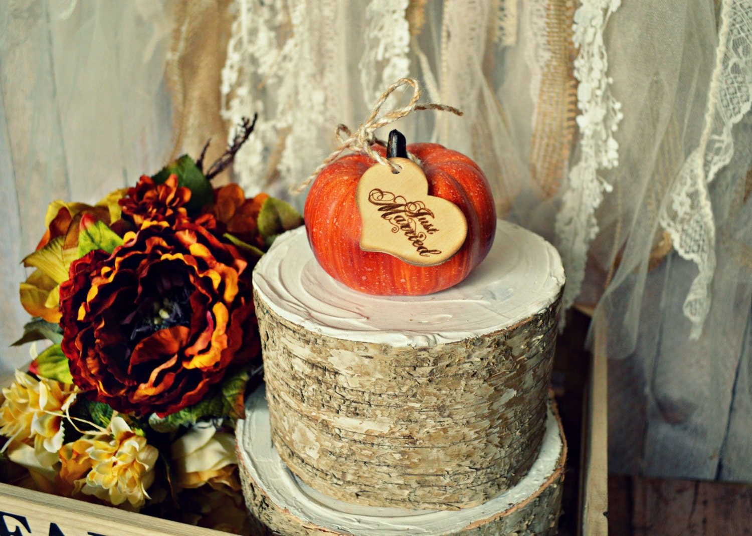 Fall wedding cake topper bride groom fall cake by