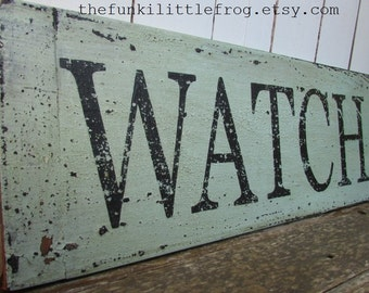 WATCH HILL, Weathered Rustic Wooden Handpainted Sign, Thefunkilittlefrog