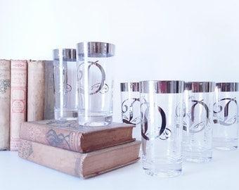 Vintage Silver Monogrammed Barware Glasses Cursive D Initial Drinkware Monogramed Water Glasses Midcentury Dining Serving  Glass Set