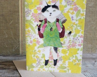 "travel cat ""Jackie"" All purpose greeting card w/ a craft paper envelope"