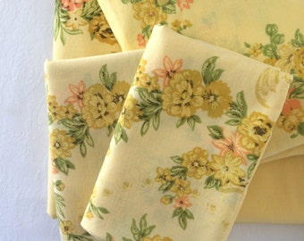 Vintage Twin Size Bedding Set Complete Sheet Set Yellow Roses Floral Twin Sheet