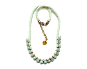 Beaded Rope Necklace, Gemstone Necklace, Mint Cord and Light Blue Amazonite Necklace, Tribal Necklace, Turquoise Necklace
