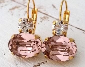 Blush drop earrings,Blush pink Bridesmaids gifts,Blush pink Swarovski earrings, Dangle earrings, Bridal earrings,Gold earrings,Weddings