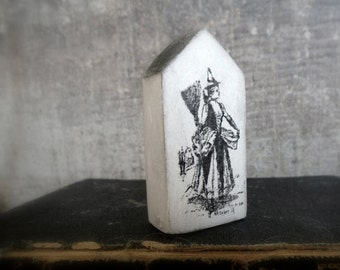 The Good Witch, Halloween home decor, miniature clay house, white, black, rustic, vintage style, cottage, raven, crow, pumpkin, air dry clay