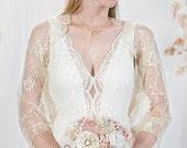 Beige Bridal Lace Shrug. 4 Ways Loop Shawl, Shrug, Crisscrossed And Circle Scarf. Wedding Outfit Romantic Beige Lace Bolero Or Shawl (DL300)